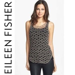 Eileen Fisher Taupe Crochet Tank Top